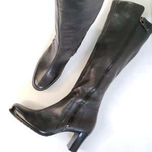 Cole Haan Pebbled Black Leather Tall Boots S28